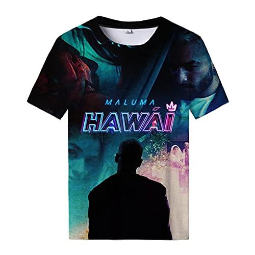 Maluma Hawai Camiseta con estampado 3D Maluma Tops Casual Streetwear Tees Hombres...