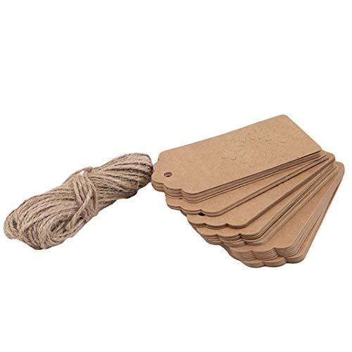 GLJYG Etiquetas de regalo de Navidad de Kraft para colgar de manualidades, etiquetas de decoración para Navidad de boda con cuerda, (copo de espiga)