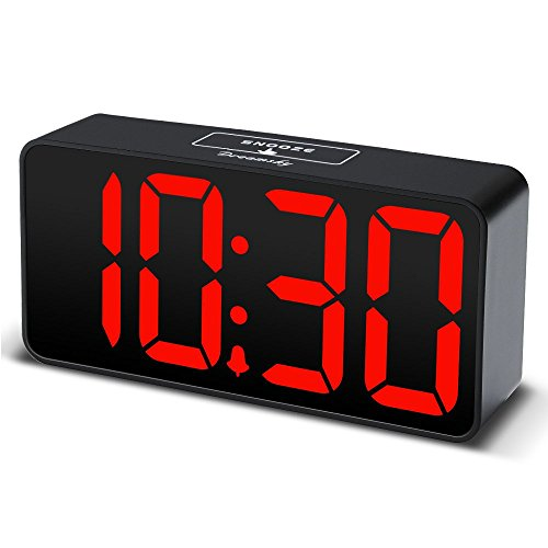 DreamSky LED Digital Alarm Clock with USB Port for Charging, Large Clear Red...