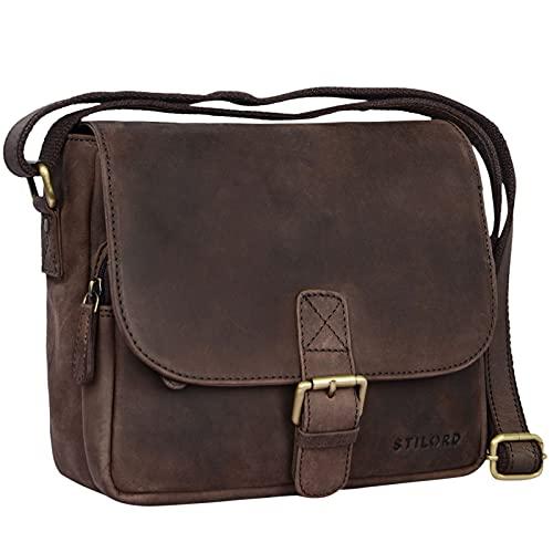 STILORD 'Lucian' Vintage schoudertas leer klein voor mannen en vrouwen schoudertas voor 10,1 inch tablet iPad DIN A5…