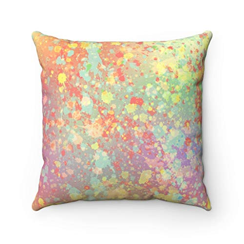 Abstract Pillow Cover, Green Orange Yellow, Purple Paint Splatter, Modern Pillowcase Watercolor, Decorative Couch Pillow Case Cushion for Sofa Home Decor 22 x 22 Inches