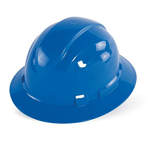 Bullhead Safety HH-F1-B – – Blue Unvented Full Brim Style Hard Hat with Six-Point Ratchet Suspension