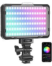 Neewer RGB176 RGB-videolamp met APP-bediening, 360 ° Full Color Led Cameralamp CRI95+ Dimbaar 3200K-5600K, 9 lichtscènes voor YouTube DSLR Camera Camcorder Fotoverlichting (batterij niet inbegrepen), RGB176