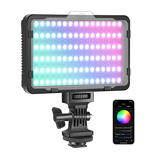 Neewer RGB Luz de Video con Control de Aplicación Luz LED de Cámara con 360° a Todo Color CRI95+ Ajustable de 3200K-5600K 9 Escenas de Luz para Iluminación Youtube Fotos (Batería No Incluida) RGB176