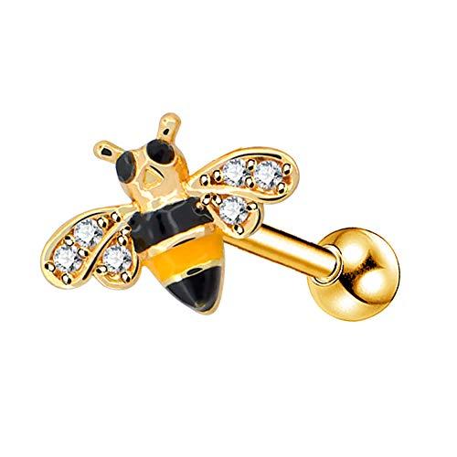 OUFER Body Piercing Cartilage Earring 16G Helix Piercing 316L Surgical Steel Helix Earring Dainty Bee Tragus Earring Cartilage Earring Studs Lobe Stud