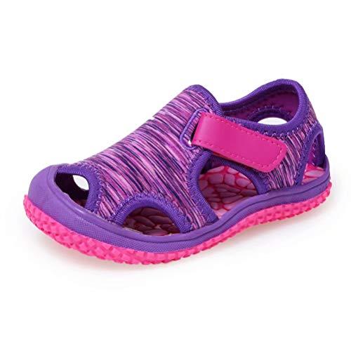 Geschlossene Sandale Jungen Atmungsaktiv Kindersandalen rutschfest Sandalen Mädchen Trekking Sandalen Lila 26