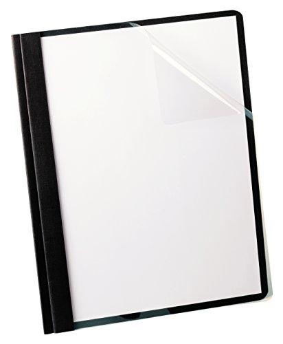 Oxford Linen Clear Report Cover, Black, Letter Size, 5 per box (50406)