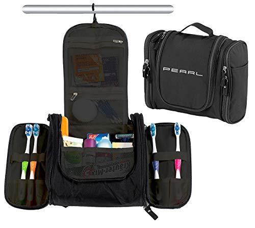 PEARL Necessaire: Geräumige Kulturtasche zum Aufhängen, 18 Fächer, Unisex, schwarz (Kulturbeutel zum Aufhängen)