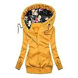 Aniywn Women's Zip Up Hoodie Floral Printed Pullover Sweatshirt Long Sleeve Slim Fit Autumn Hoodie Outwear Jacket Coat