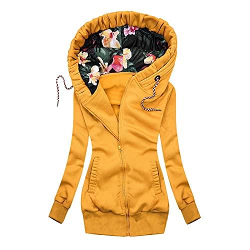 Alueeu Mujer Originales Abrigo con Capucha Chaqueta Suéter Jersey Otoño Invierno Talla Grande Suelto Sólido Manga Larga Cordón Outwear Básica Pullover Tops