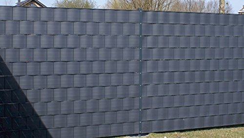PREMIUM Sichtschutzstreifen Hart-PVC für Doppelstabmatten Sichtschutz Windschutz Zaunblende Streifen 1 Stück ANTHRAZIT RAL 7016 mit 2,525 Meter Länge - Höhe 19 cm - Stärke 1,35 mm