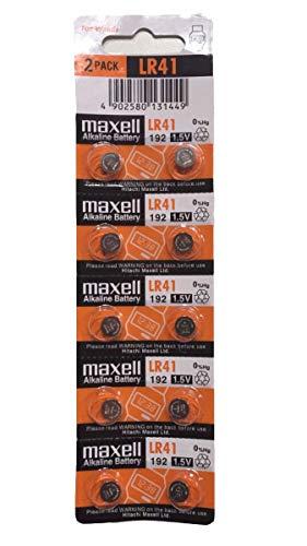 Maxell 11716800 Lot de 10 piles bouton alcalines LR41 sans mercure 1,5 V