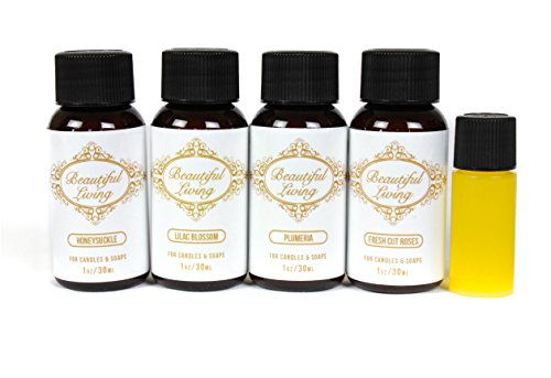 Fragrance Oil Sampler Set with Bonus Oil-Plumeria, Honeysuckle, Lilac Blossom, Fresh Cut Roses and Bonus Cotton Blossom-Scents for Candle Making and Soap Making- Works in Diffusers, Warmers, Potpourri