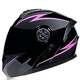 Casco de motocicleta retro, con doble visera para motocross, aprobado por DOT, color rosa, negro, tamaño mediano)