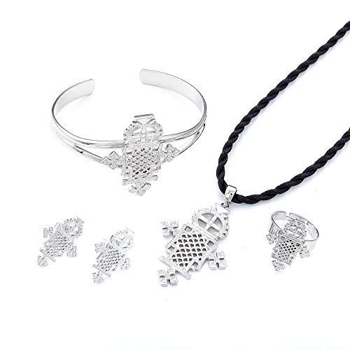 Ethiopian Silver Plated Baby Cross Jewelry Sets For Teenage Girl Women Nigeria Congo Uganda