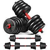 MOVTOTOP Adjustable Dumbbells Set, Barbell Set 5/15/20/33/44/66 lbs with Connecting Rod, Non-Slip 3 in 1 Weight Dumbbell Set, Home Fitness/Gym Workout Free Weight Set for Men Women Exercises Training