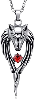 Stainless steel Retro Wolf Ruby Pendant Necklace for Men Woman