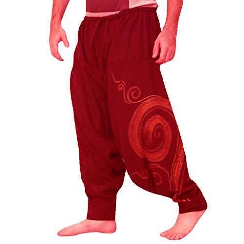 LQQSTORE Herren Hose Harem Ethnic Druck Overalls Freizeit Taschen Sport Yoga Arbeit Freizeit Herbst Winter (Rot, L)