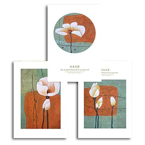 Laiyang Carteles e Impresiones de Arte de Pared de Flores de Loto Life Art Canvas Artwork Pinturas Imágenes para la Sala de Estar Decoración del hogar 60x90cmX3 sin Marco
