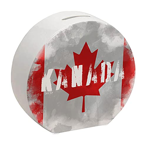 Spardose mit Kanada-Flagge im Used Erscheinungsbild - Sparschwein für Urlauber eine schöne Sparbüchse mit der kanadischen Nationalflagge verziert um auf die Reise nach Kanada zu sparen