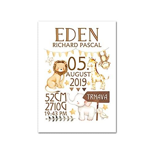 Personalisierte Baby Geburt benutzerdefinierte Poster Kindergarten Kunstdruck Tier Leinwand Malerei Bild Nordic Kid Boy...