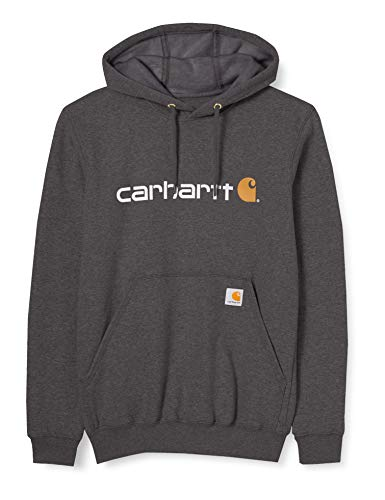 Carhartt Herren Signature Logo Midweight Sweatshirt Sweater, Carbon Heather, M
