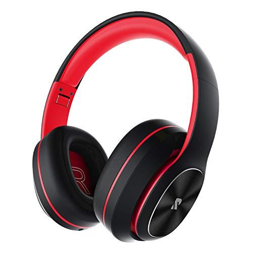 Rydohi Auriculares Inalámbricos Diadema, [100 Hrs de Reproducción] Hi-Fi Sonido, Cascos Bluetooth Micrófono Incorporado y Doble Controlador de 40 mm, para Móviles/Xiaomi/TV (Rojo)
