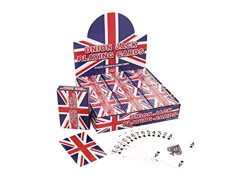 Henbrandt 12 PACKS OF UNION JACK PLASTIC COATED PLAYING CARDS