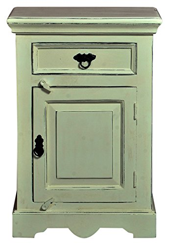 SIT-Möbel Toledo 6999-10, Kommode mit je 1 Tür & Schublade, aus Mangholz & MDF, weiß, 50 x 35 x 72 cm