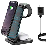 Wireless Charger Stand 3 in 1, iKALULA Detachable Fast Wireless Charging Station Dock Compatible for Apple Watch 4 3 2, Airpods 2/Pro, iPhone 12/11/X/Xr/Xs, Samsung, Qi-Certified (QC 3.0 Adapter)