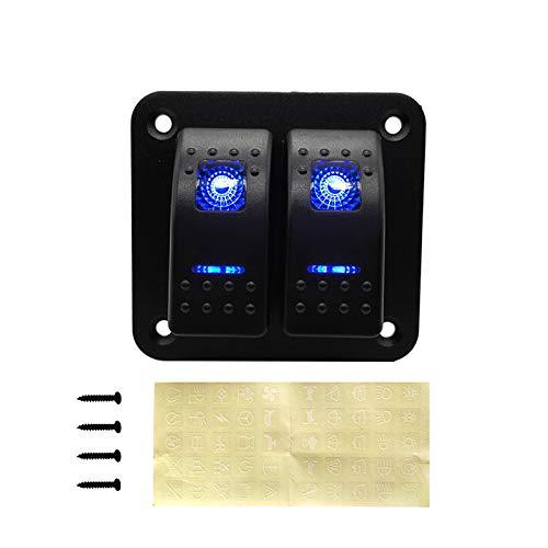 RJJX 2 3 4 5 6 GAND Dual LED MARRES Barco DE Rocker DE MOQUILLO Ajuste para EL Panel DE COMPRANZAMIENTO del Coche del Coche del Coche del Interruptor DE CIERNO (Color : 2 Gang Blue LED)
