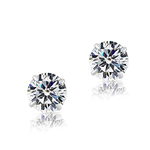 14k White Gold Solitaire Round Cubic Zirconia Stud Earrings with Gold butterfly Pushbacks 5mm