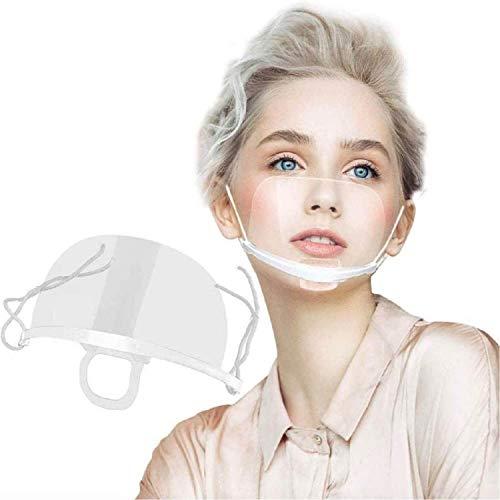10 pantallas faciales de plástico transparente, visera protectora, mascarillas lavables y reutilizables para proteger la nariz y la boca incluso de líquidos y saliva