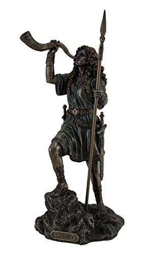 Resin Statues Boudica Warrior Queen Of Iceni Holding Spear Blowing Celtic Horn Statue 5 X 10.25 X 5 Inches Bronze