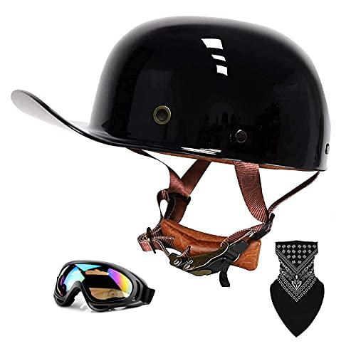 QHHALXZ Gorra de béisbol retro para motocicleta, con certificado DOT, media cascos, para hombre y mujer, para Cruiser Street Scooter, ciclomotor, jet con máscara