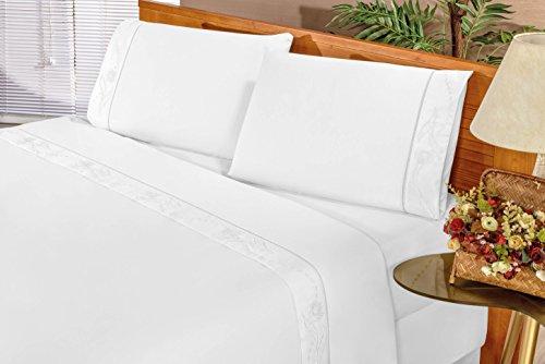 Jogo de Cama Queen Imperial 04 Peças Bia Enxovais Branco Queen Tecido