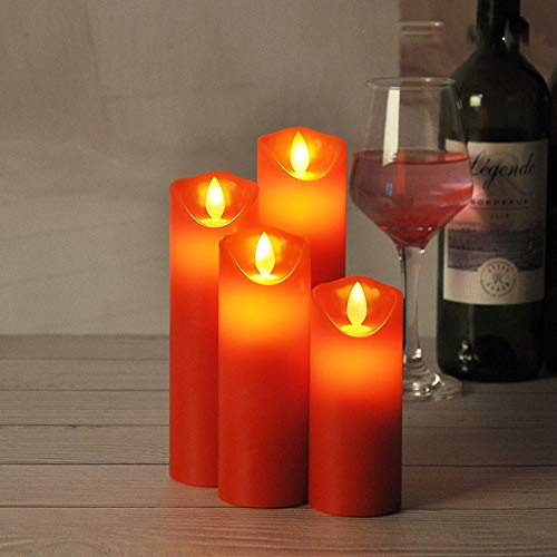 MHMT Flickering Flameless Led Candles, Battery Operated Red Tea Lights Candles Electric Votive Candles Fake Candles for Christmas, Xmas Decorations