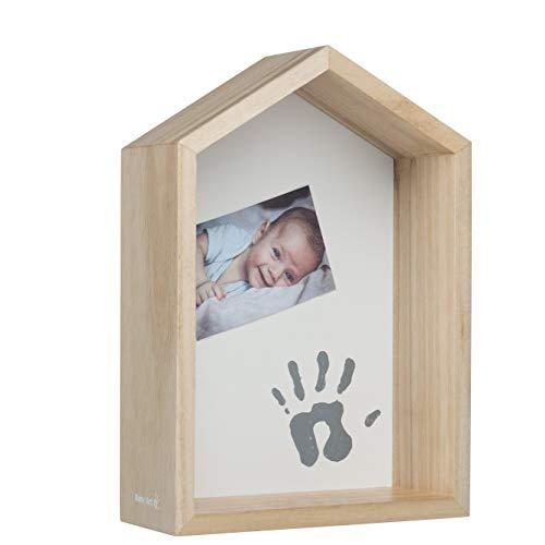 Baby Art - Estantería para bebés, Estante de pared o de escritorio de madera, Decoración de la habitación de los niños, Personalizable con el kit de huellas, color de madera natural