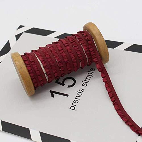 20meters 10mm Geplooide Stretch Kant Versieringen Linten Verstoorde Elastische Band Baby Haarband Riemschoenen Decoratieve Tapes DIY Craft, wijnrood, 10mm