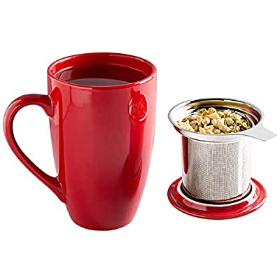 GBHOME Tea Mug with Infuser and Lid, 17 OZ Large Tea Strainer Cup with Tea Bag Holder for Loose Tea, Ceramic Tea Steeping Mug for Women/Men/Office/Home/Gift, Red