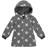 "Lilakind"" Kinder Jacke Softshell Kapuze lang Anorak Sterne Grau Gr. 110/116 - Made in Germany*"