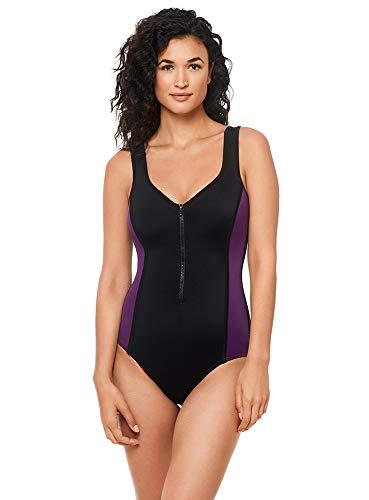 Reebok Women's Swimwear Sport Fashion Colorblock V-Neckline Zipper Tank One Piece Swimsuit, BlackBerry Purple, 14