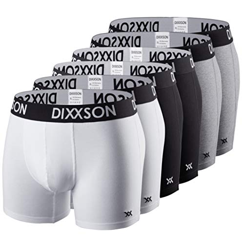 DIXXSON Basic Men Underwear 6er Pack Boxershorts Herren (XXL, White Black Grey)
