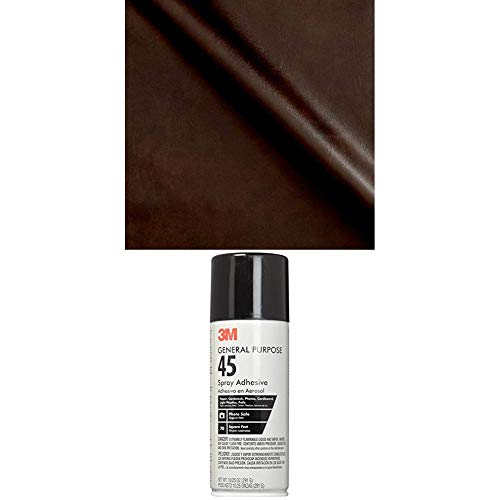 Plastex Fabrics Faux Leather Caprice Brown Fabric by The Yard Bundle with 3M General Purpose 45 Spray Adhesive, 10-1/4-Ounce, White
