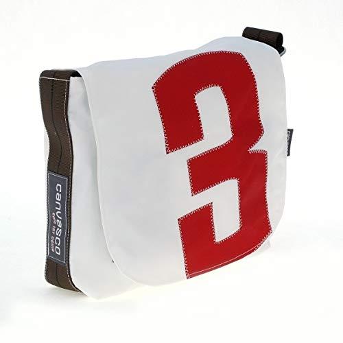 Messenger Bag CANVASCO Mini/Tasche weiß/Gurt braun-schwarz/Motiv 3 rot