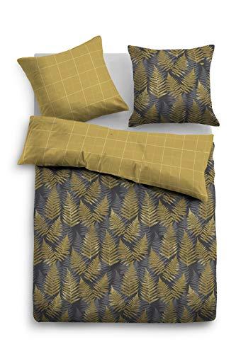 TOM TAILOR 0069980 Bettwäsche Garnitur mit Kopfkissenbezug Baumwoll-Satin 1x 135x200 cm + 1x 80x80 cm mustard