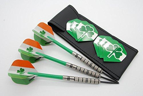 24g Tungsten Dart Set 'Kleeblättern' Standard Irland Flights, Nylon Schäfte
