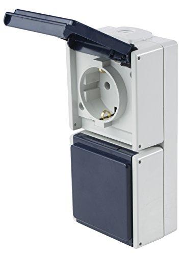 as - Schwabe Aufputz Steckdose 2-Fach, senkrecht, mit 2 Leitungseinführungen, IP 54 Aussenbereich, grau, 62462