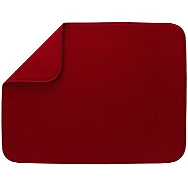 S&T XL Microfiber Dish Drying Mat, 18  x 24 , Red