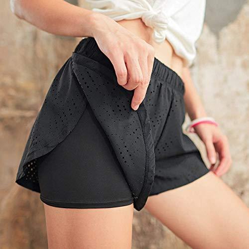 JINBAOYA-Damen-Sportshorts, atmungsaktive schweißabsorbierende Yoga-Hose mit hoher Dehnung, enge, lockere Damen-Trainingshose für Damen, Negro, L